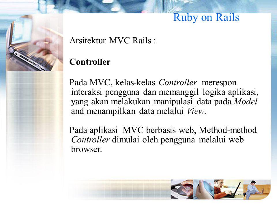 Ruby on Rails Arsitektur MVC Rails : Controller