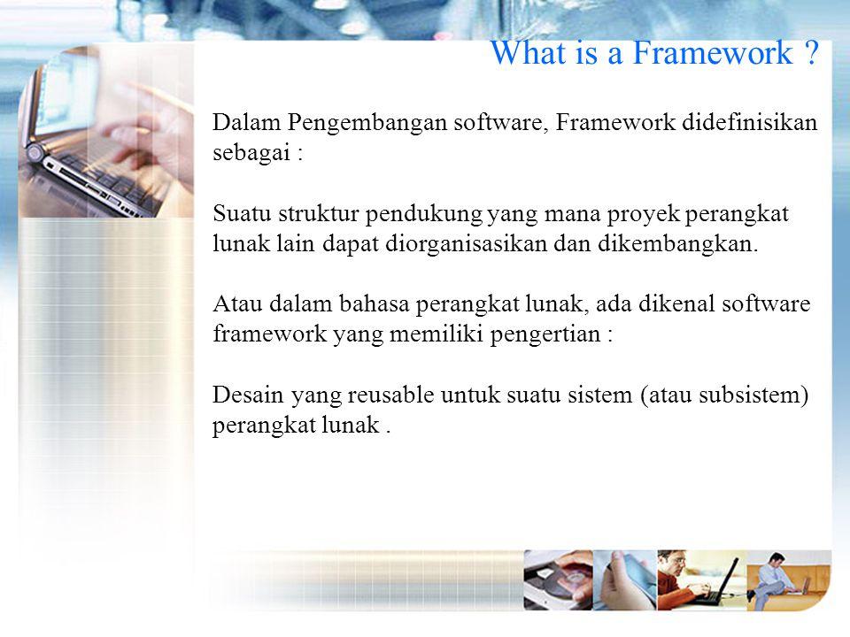 What is a Framework Dalam Pengembangan software, Framework didefinisikan sebagai :