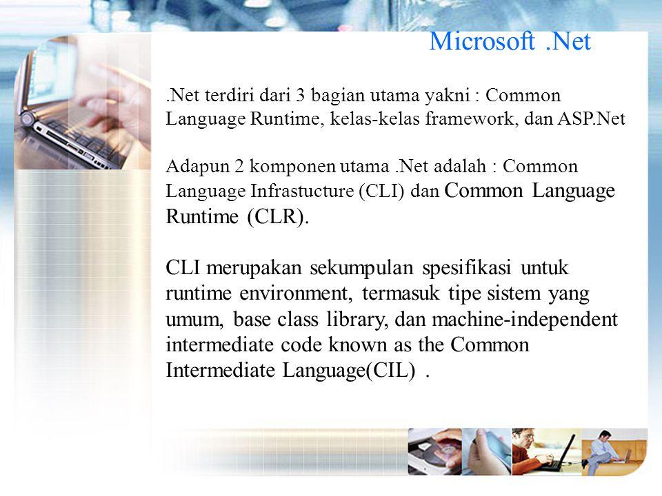 Microsoft .Net .Net terdiri dari 3 bagian utama yakni : Common Language Runtime, kelas-kelas framework, dan ASP.Net.