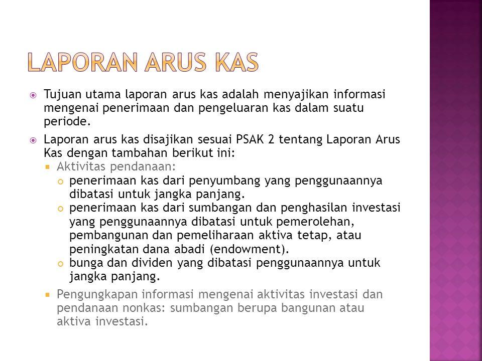 Laporan Arus Kas Tujuan utama laporan arus kas adalah menyajikan informasi mengenai penerimaan dan pengeluaran kas dalam suatu periode.