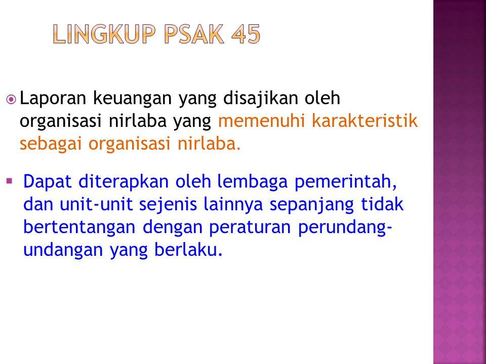 Lingkup PSAK 45 Laporan keuangan yang disajikan oleh organisasi nirlaba yang memenuhi karakteristik sebagai organisasi nirlaba.