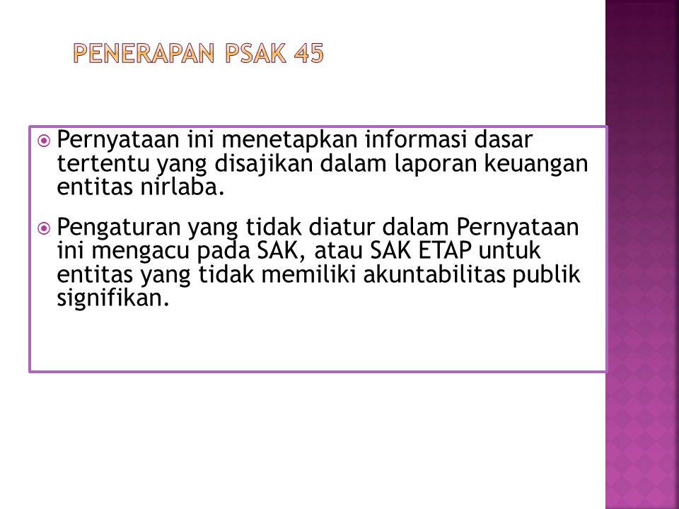 Penerapan PSAK 45 Pernyataan ini menetapkan informasi dasar tertentu yang disajikan dalam laporan keuangan entitas nirlaba.