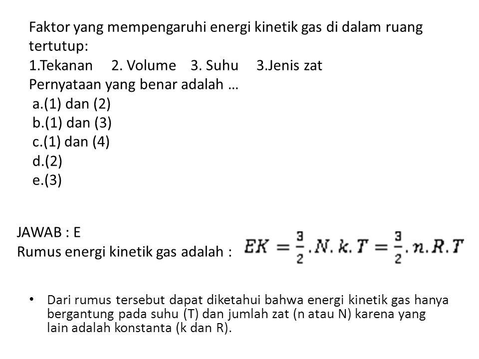 Faktor yang mempengaruhi energi kinetik gas di dalam ruang tertutup: 1