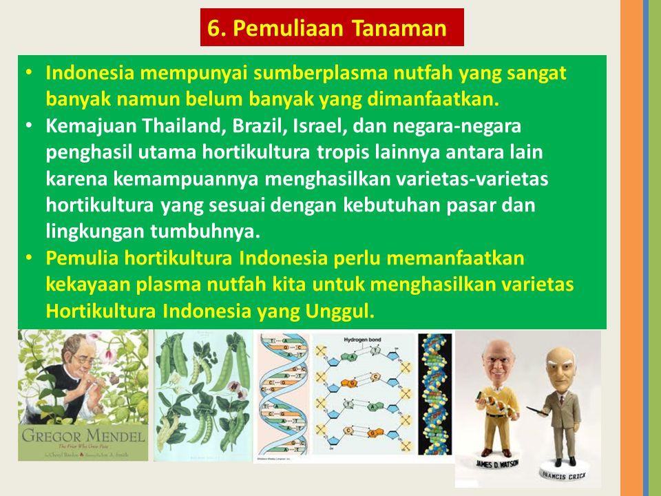 6. Pemuliaan Tanaman Indonesia mempunyai sumberplasma nutfah yang sangat banyak namun belum banyak yang dimanfaatkan.