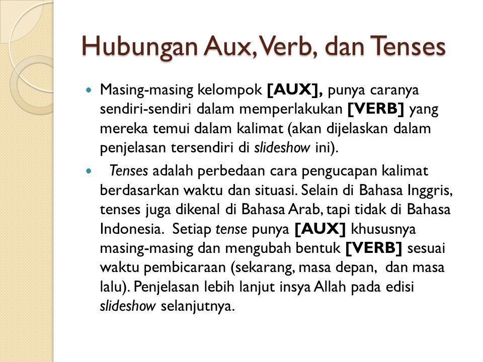 Hubungan Aux, Verb, dan Tenses