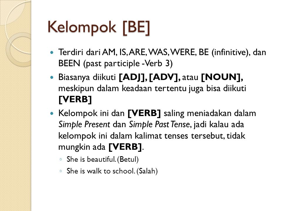 Kelompok [BE] Terdiri dari AM, IS, ARE, WAS, WERE, BE (infinitive), dan BEEN (past participle -Verb 3)