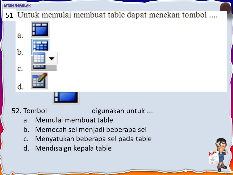 51 Tombol digunakan untuk .... Memulai membuat table. Memecah sel menjadi beberapa sel.