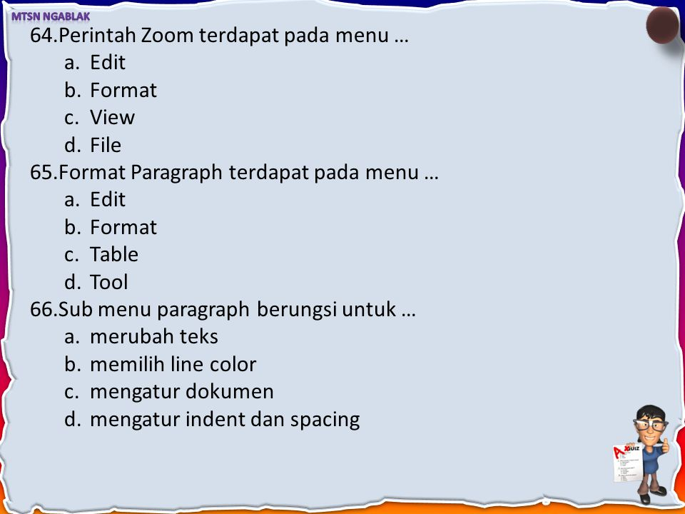 Perintah Zoom terdapat pada menu …
