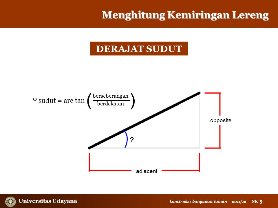 ( ) Menghitung Kemiringan Lereng DERAJAT SUDUT O sudut = arc tan
