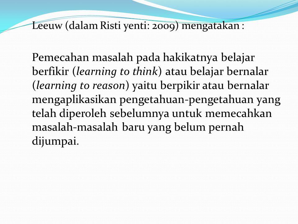 Leeuw (dalam Risti yenti: 2009) mengatakan :