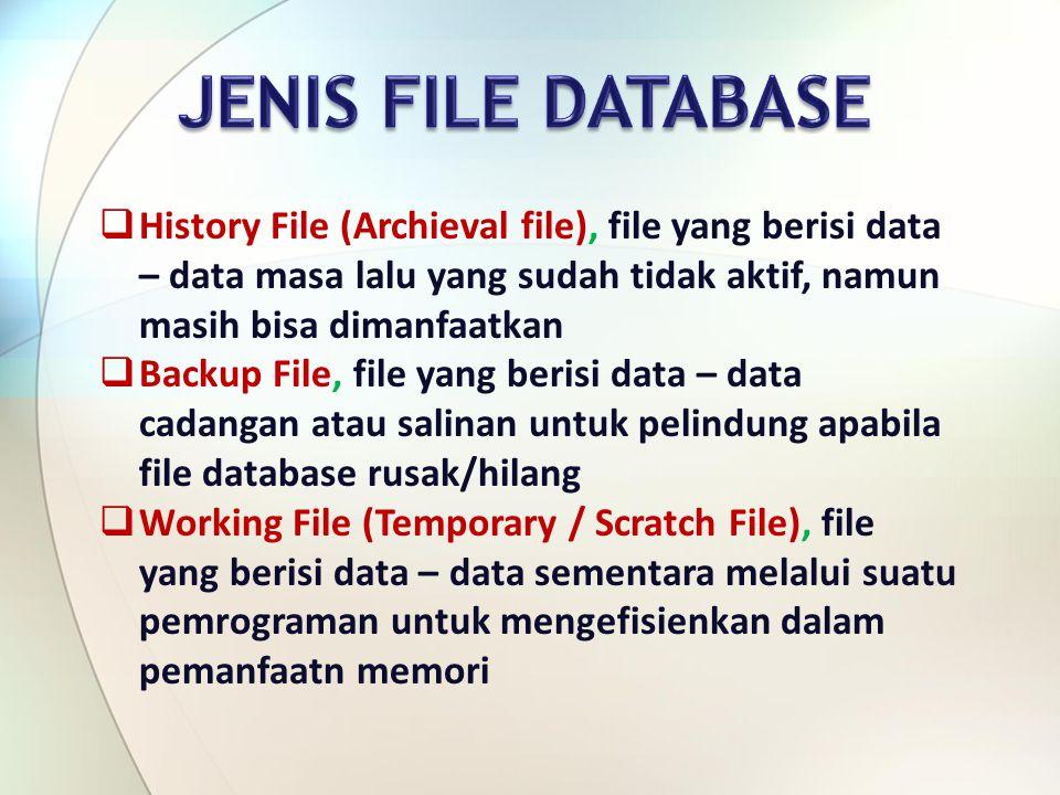 JENIS FILE DATABASE History File (Archieval file), file yang berisi data – data masa lalu yang sudah tidak aktif, namun masih bisa dimanfaatkan.