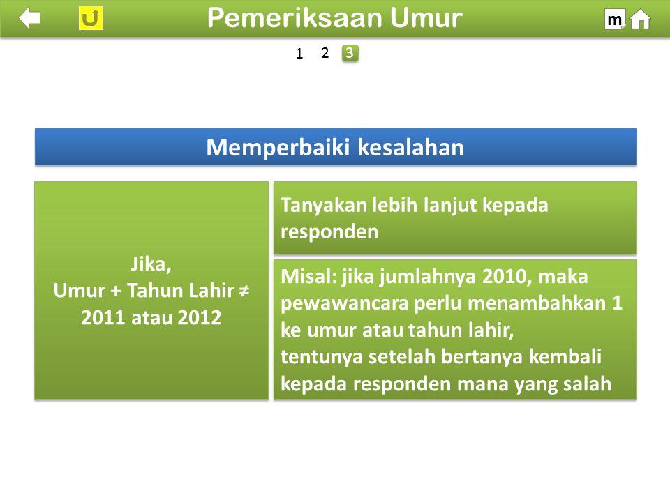 Memperbaiki kesalahan Umur + Tahun Lahir ≠ 2011 atau 2012