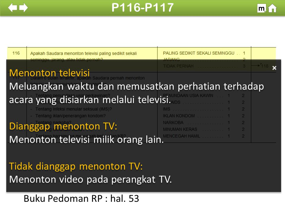 P116-P117 m. 100% Menonton televisi. Meluangkan waktu dan memusatkan perhatian terhadap acara yang disiarkan melalui televisi.