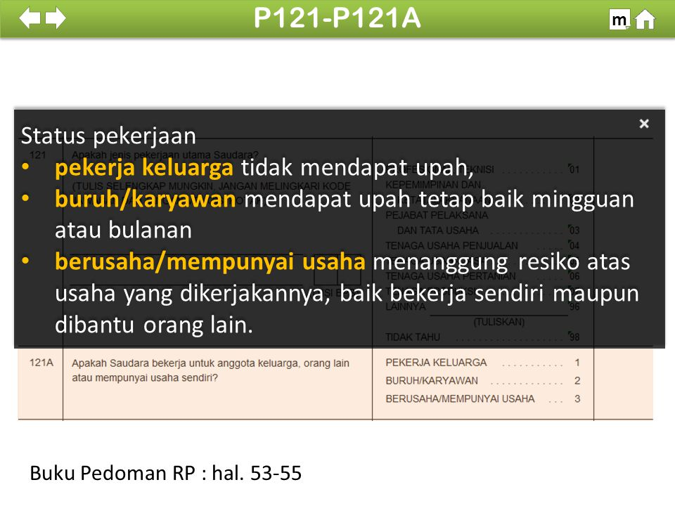P121-P121A Status pekerjaan pekerja keluarga tidak mendapat upah,