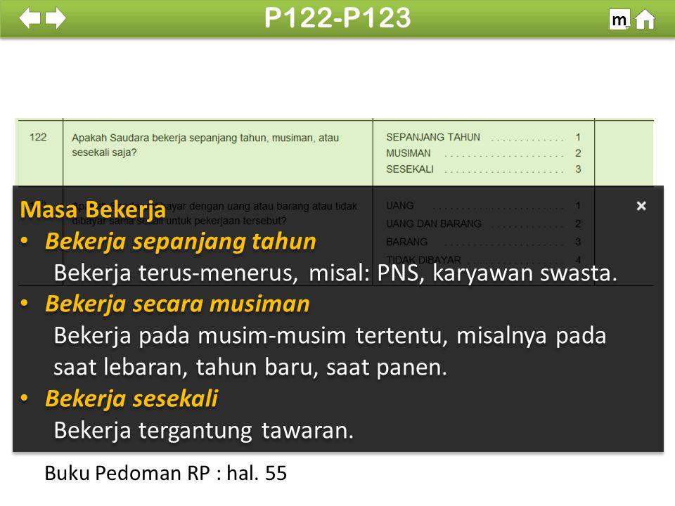 P122-P123 Masa Bekerja Bekerja sepanjang tahun