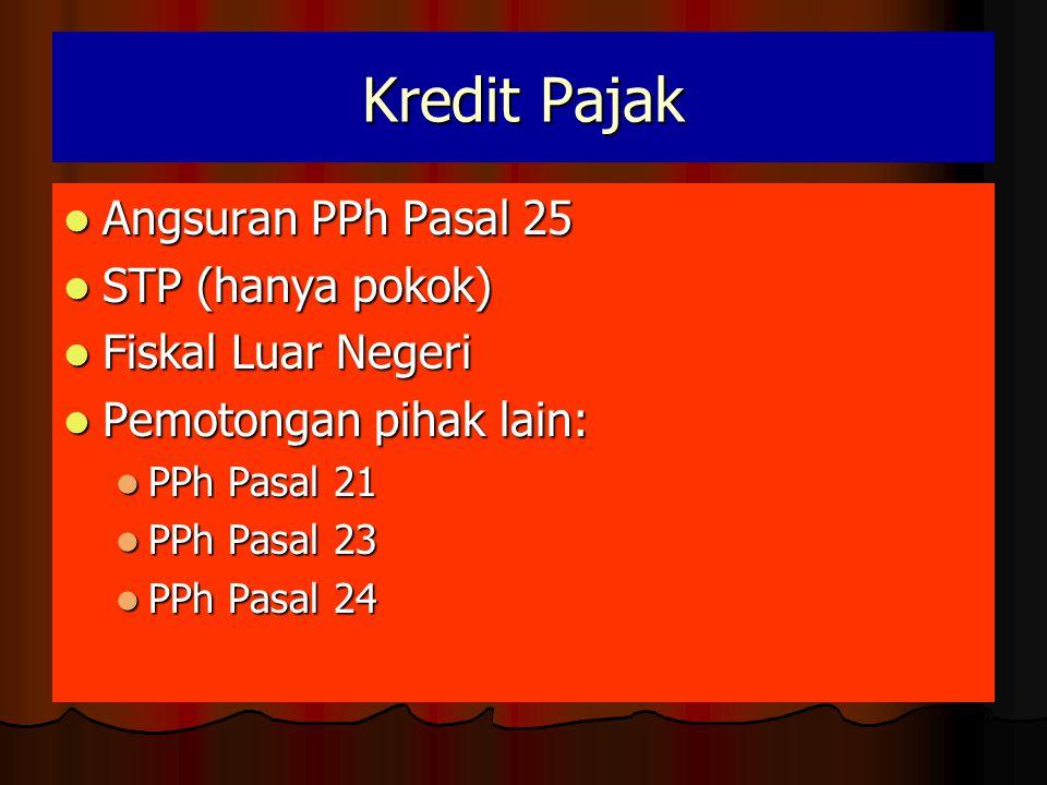 Kredit Pajak Angsuran PPh Pasal 25 STP (hanya pokok)