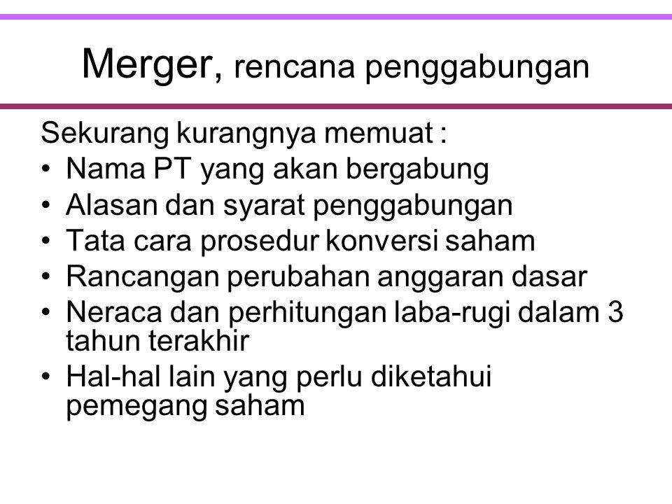 Merger, rencana penggabungan