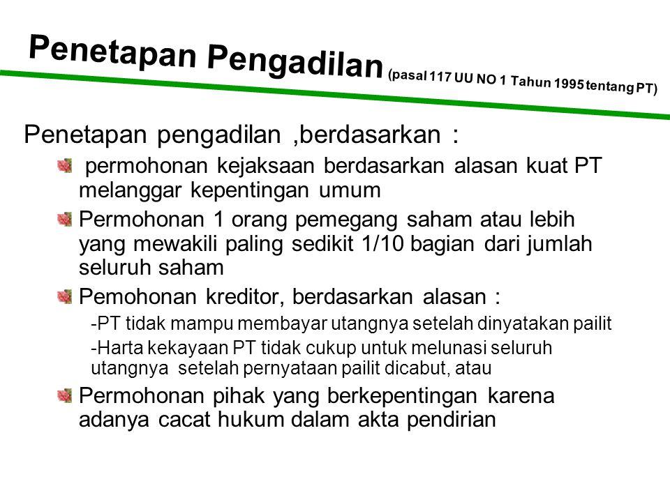 Penetapan Pengadilan (pasal 117 UU NO 1 Tahun 1995 tentang PT)