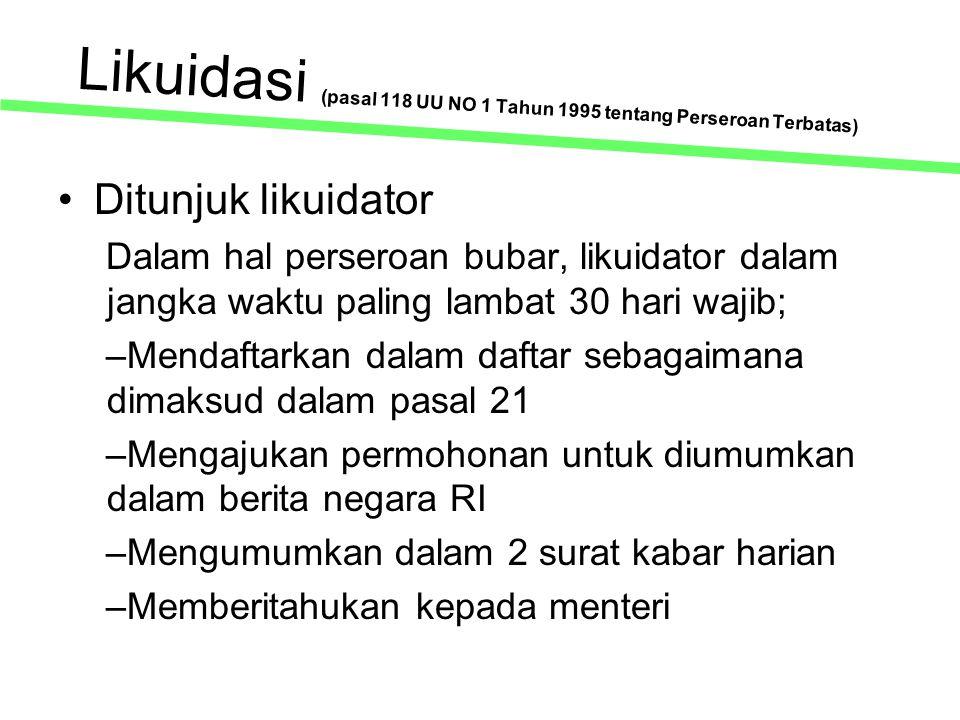Likuidasi (pasal 118 UU NO 1 Tahun 1995 tentang Perseroan Terbatas)