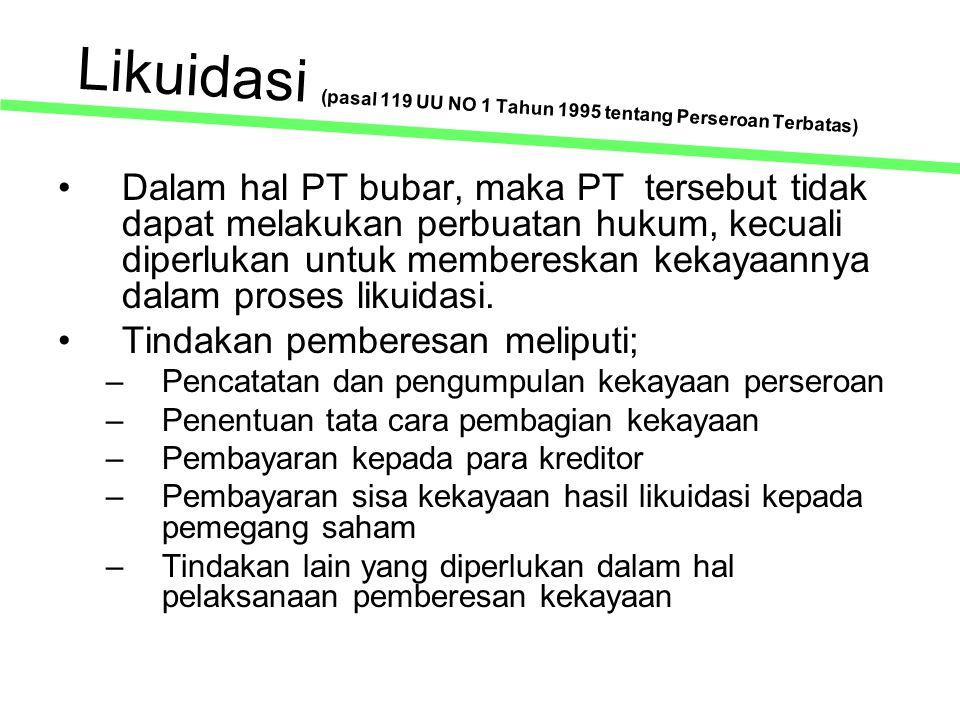 Likuidasi (pasal 119 UU NO 1 Tahun 1995 tentang Perseroan Terbatas)