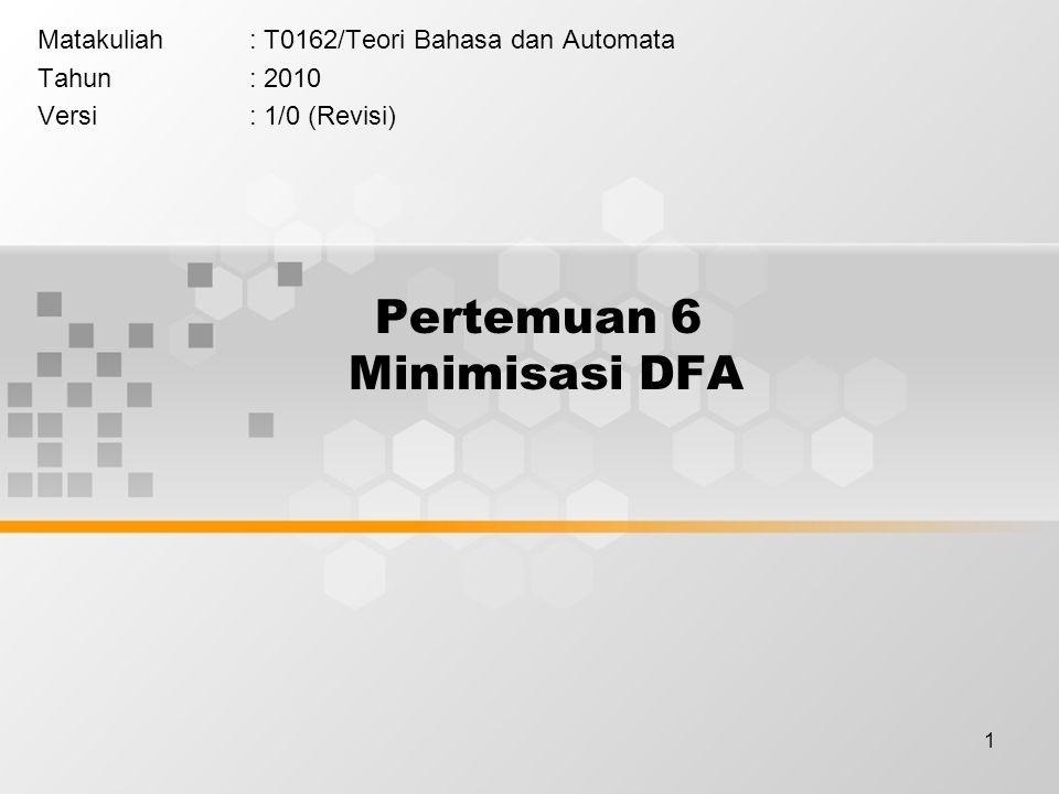 Pertemuan 6 Minimisasi DFA