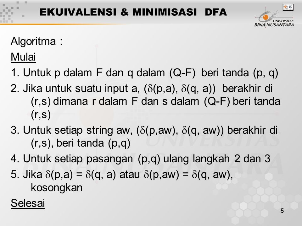 EKUIVALENSI & MINIMISASI DFA