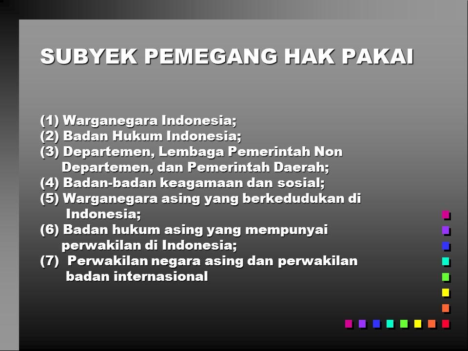 SUBYEK PEMEGANG HAK PAKAI