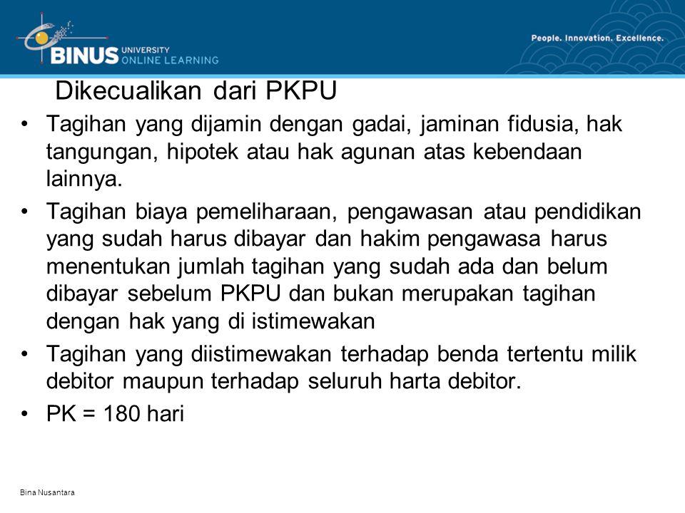 Dikecualikan dari PKPU