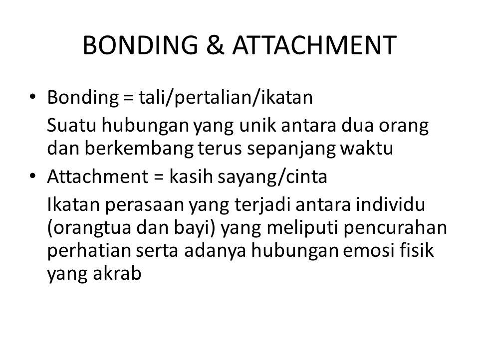 BONDING & ATTACHMENT Bonding = tali/pertalian/ikatan