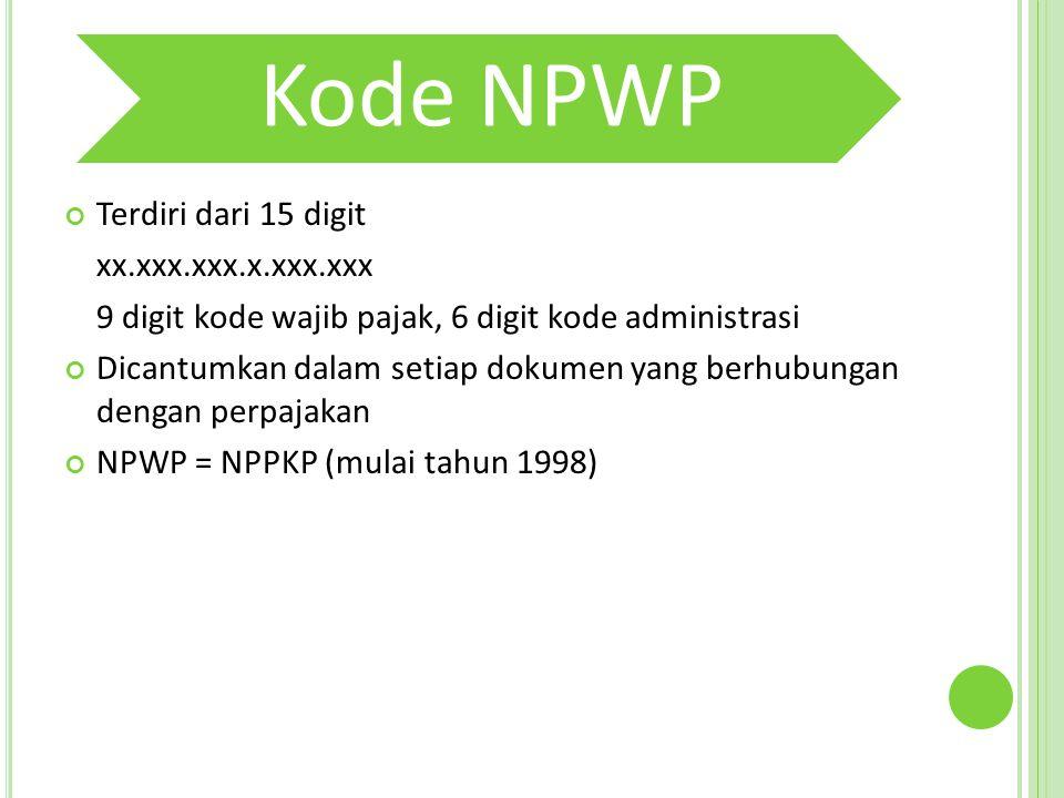 9 digit kode wajib pajak, 6 digit kode administrasi