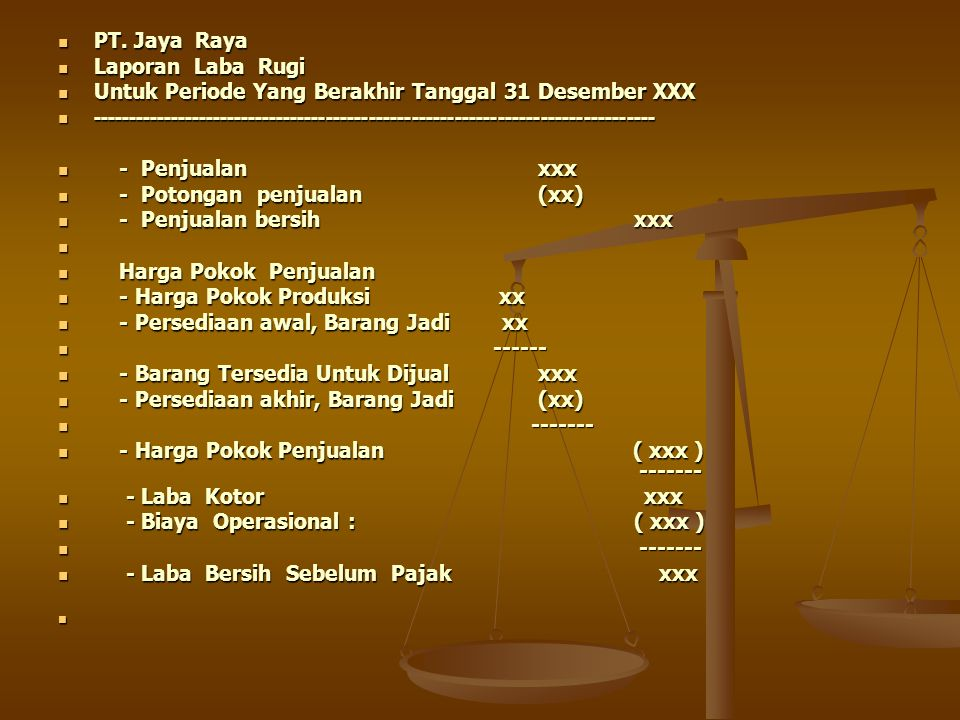 PT. Jaya Raya Laporan Laba Rugi. Untuk Periode Yang Berakhir Tanggal 31 Desember XXX.