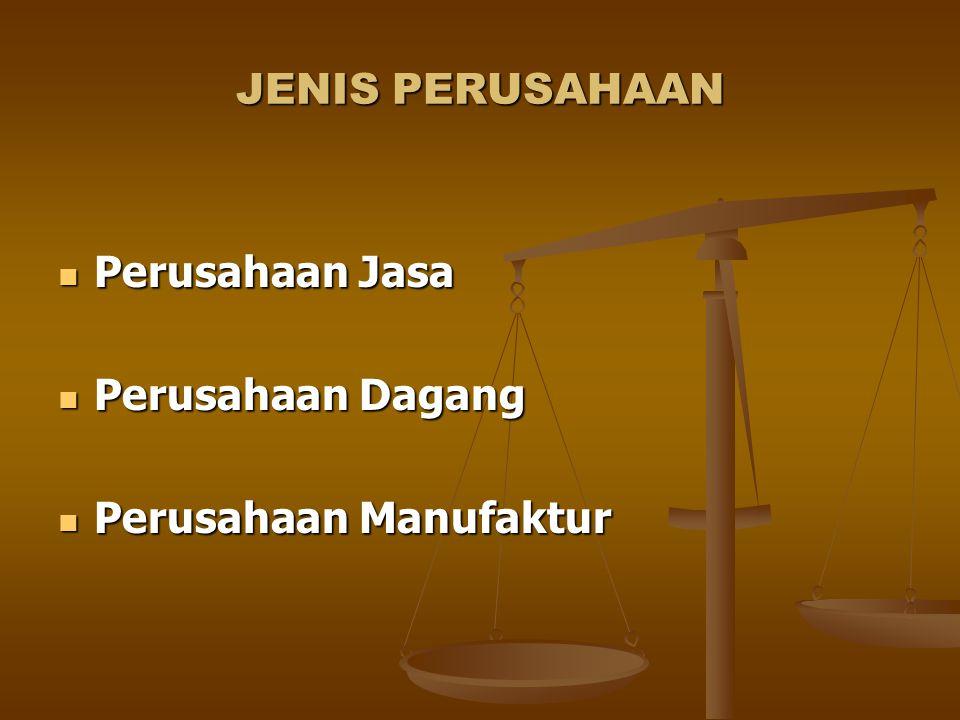 JENIS PERUSAHAAN Perusahaan Jasa Perusahaan Dagang Perusahaan Manufaktur