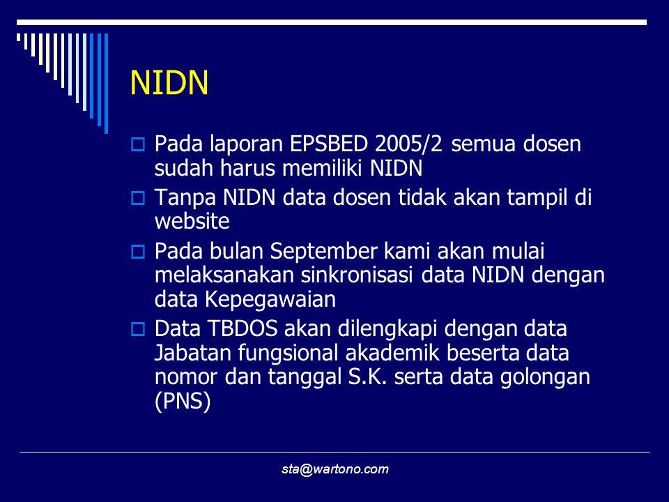 NIDN Pada laporan EPSBED 2005/2 semua dosen sudah harus memiliki NIDN