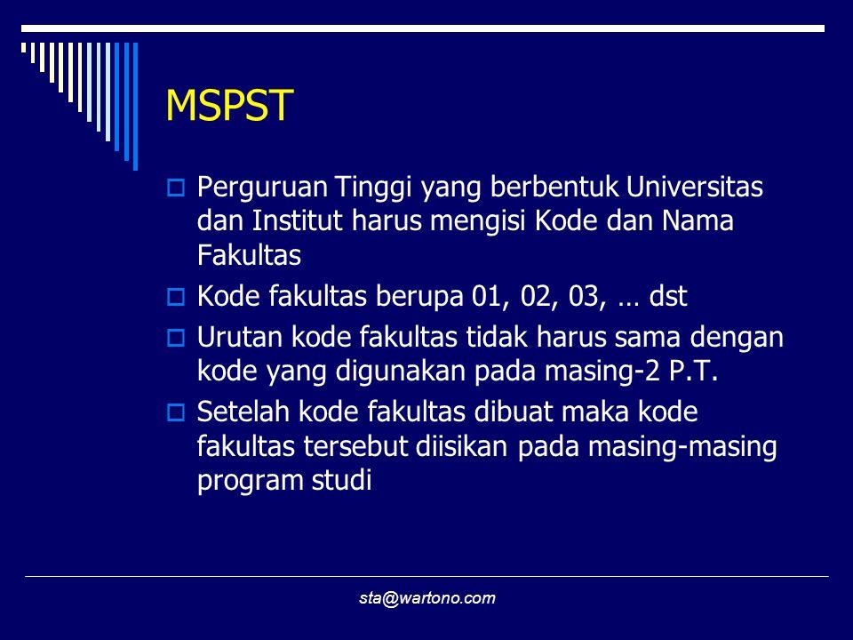 MSPST Perguruan Tinggi yang berbentuk Universitas dan Institut harus mengisi Kode dan Nama Fakultas.