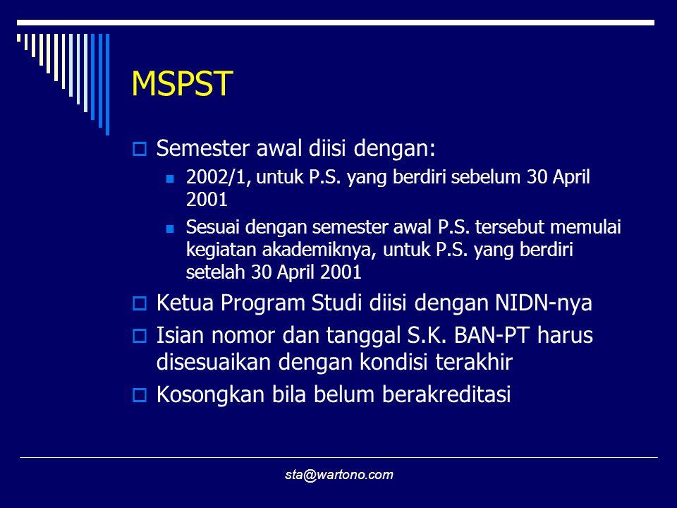MSPST Semester awal diisi dengan:
