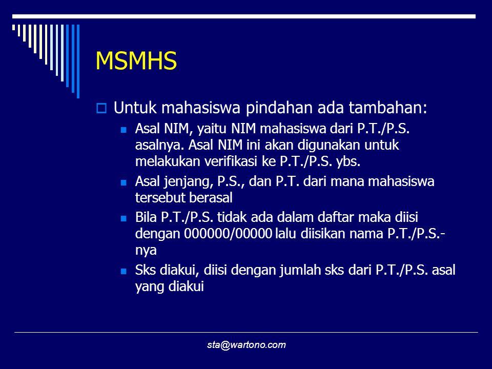 MSMHS Untuk mahasiswa pindahan ada tambahan: