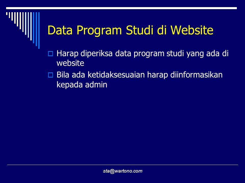 Data Program Studi di Website