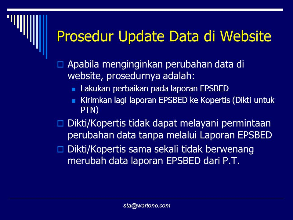 Prosedur Update Data di Website