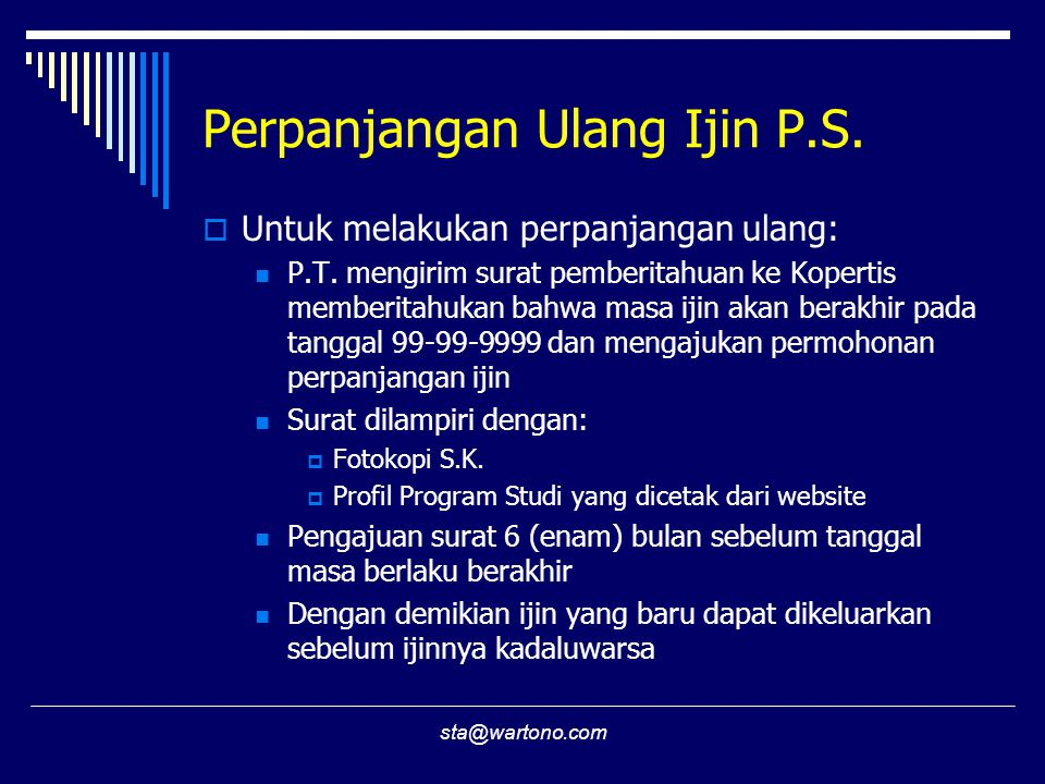 Perpanjangan Ulang Ijin P.S.
