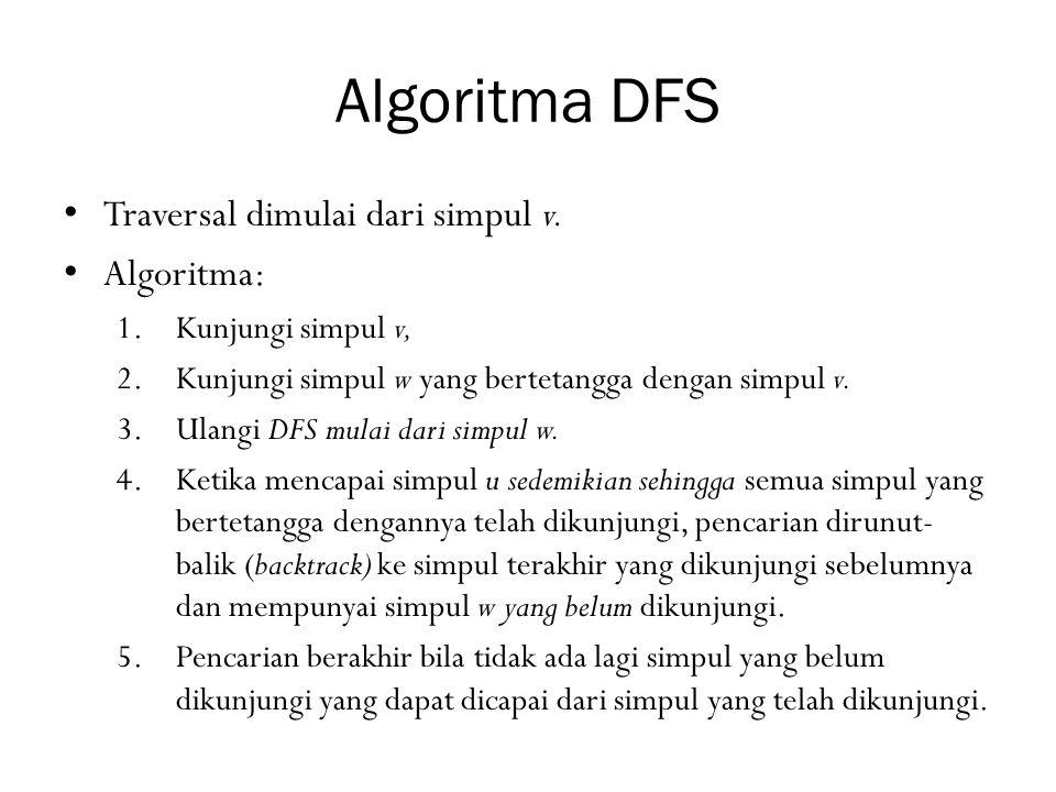Algoritma DFS Traversal dimulai dari simpul v. Algoritma:
