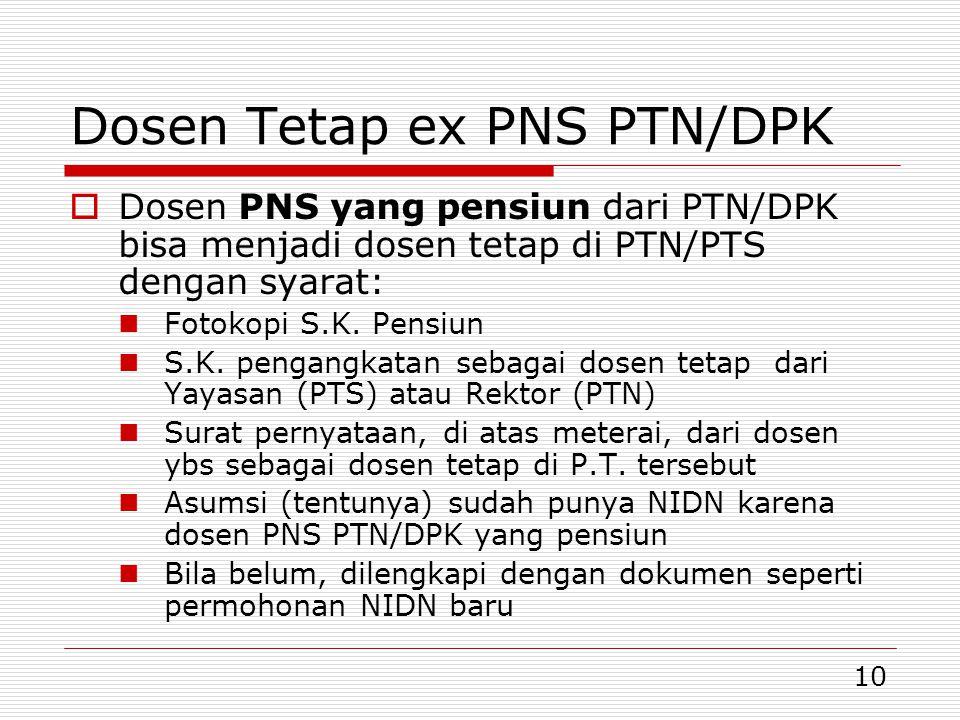 Dosen Tetap ex PNS PTN/DPK