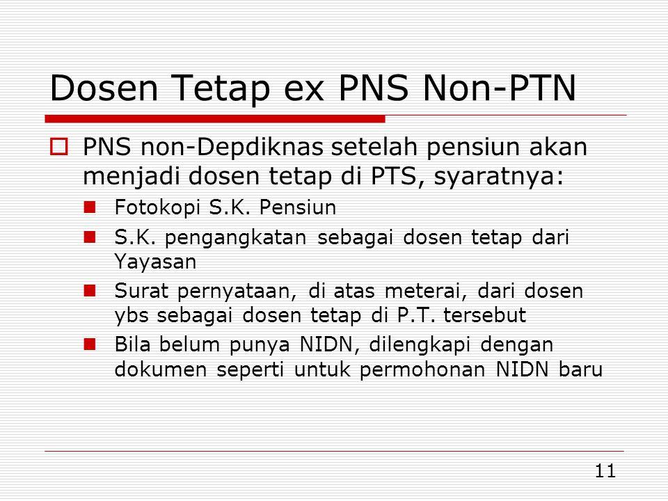 Dosen Tetap ex PNS Non-PTN