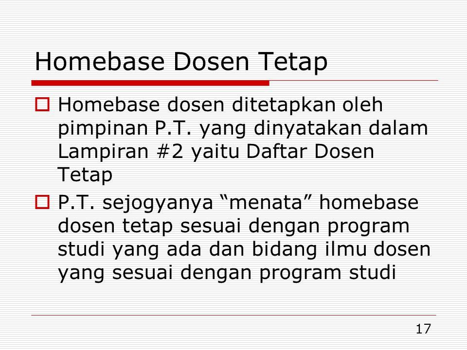 Homebase Dosen Tetap Homebase dosen ditetapkan oleh pimpinan P.T. yang dinyatakan dalam Lampiran #2 yaitu Daftar Dosen Tetap.