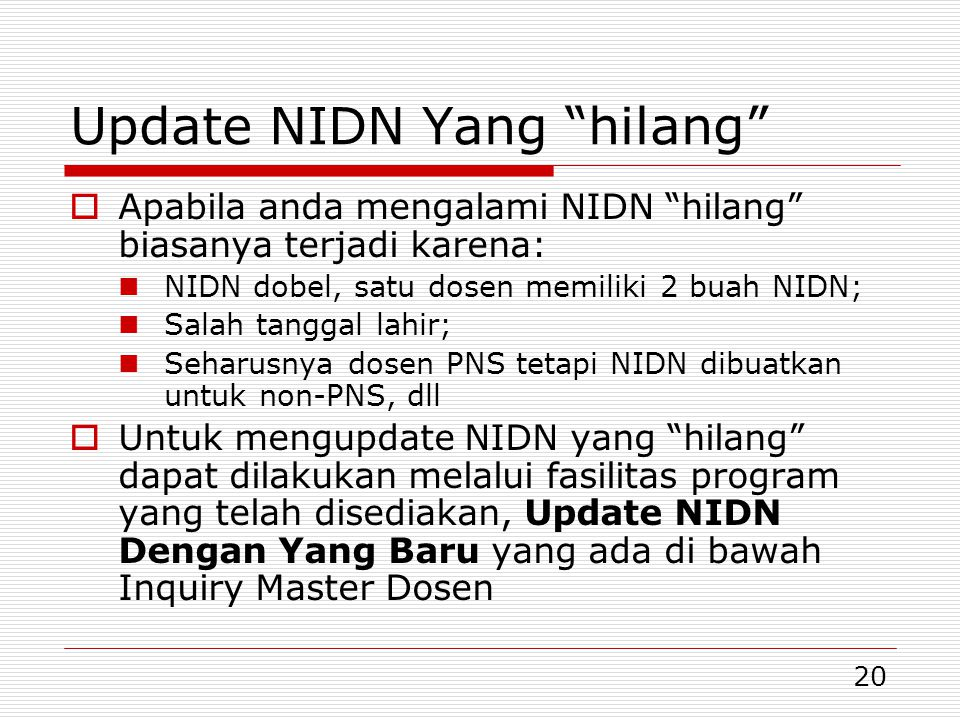 Update NIDN Yang hilang