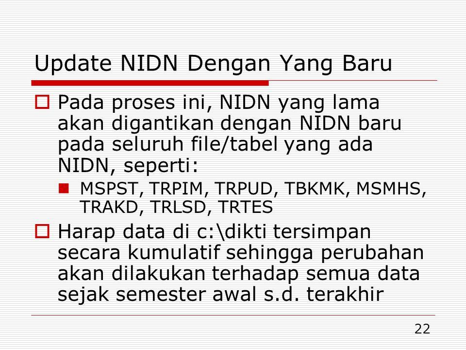 Update NIDN Dengan Yang Baru