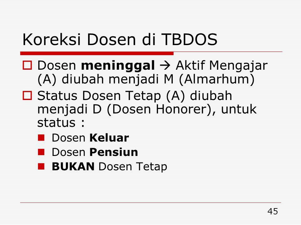 Koreksi Dosen di TBDOS Dosen meninggal  Aktif Mengajar (A) diubah menjadi M (Almarhum)