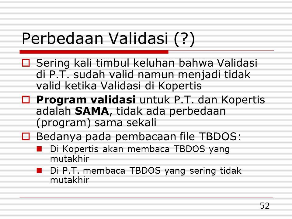 Perbedaan Validasi ( ) Sering kali timbul keluhan bahwa Validasi di P.T. sudah valid namun menjadi tidak valid ketika Validasi di Kopertis.