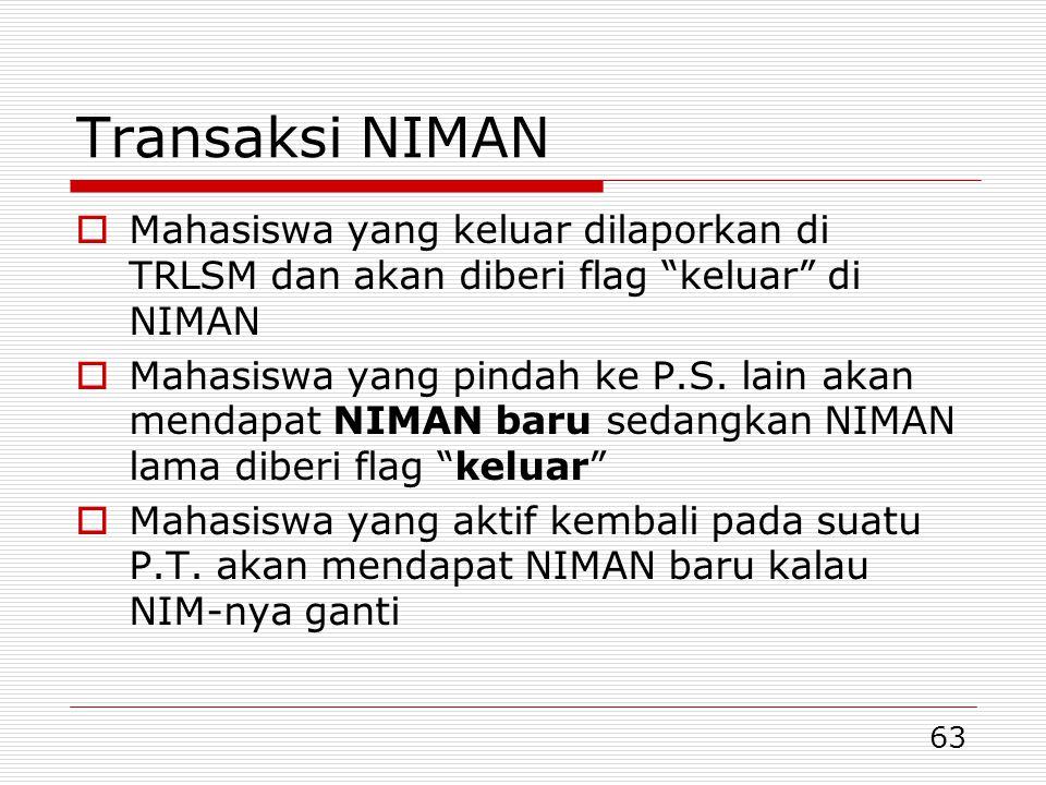 Transaksi NIMAN Mahasiswa yang keluar dilaporkan di TRLSM dan akan diberi flag keluar di NIMAN.