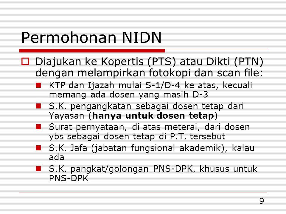 Permohonan NIDN Diajukan ke Kopertis (PTS) atau Dikti (PTN) dengan melampirkan fotokopi dan scan file: