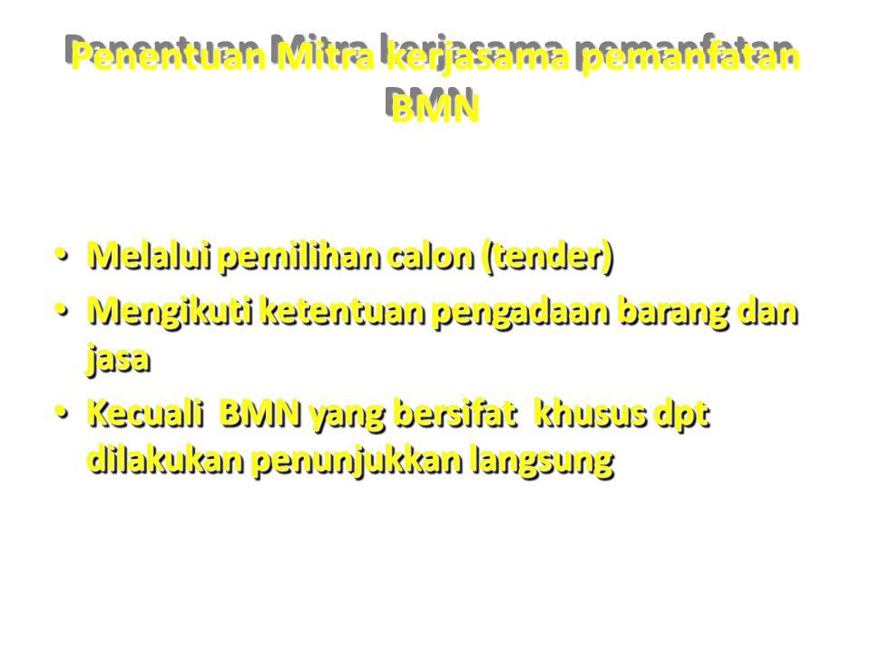 Penentuan Mitra kerjasama pemanfatan BMN